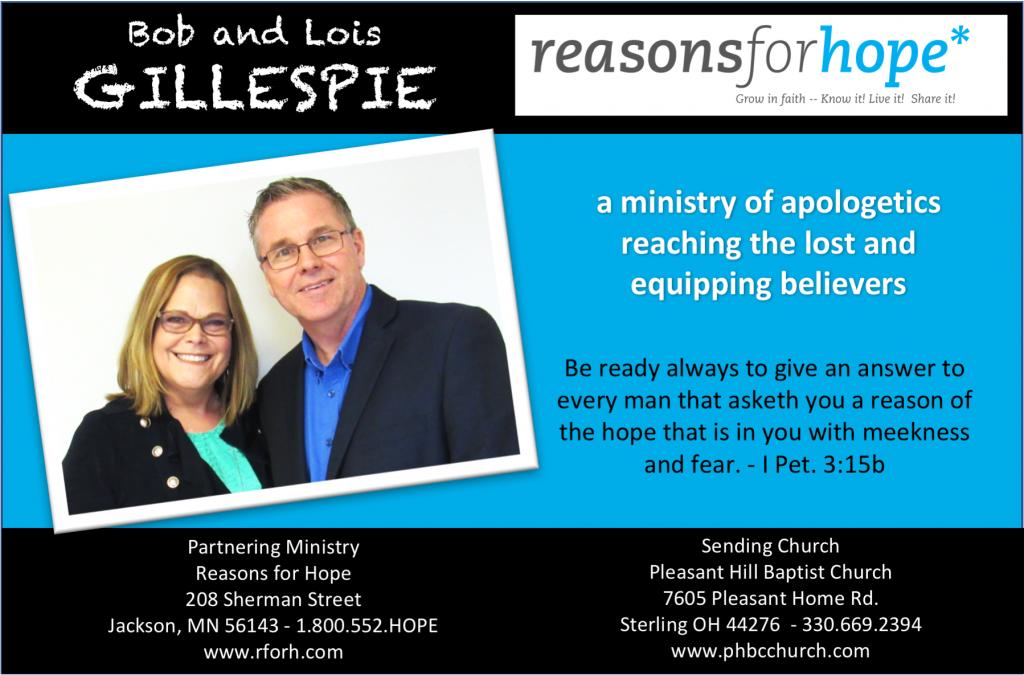 Bob and Lois Gillespie Prayer Card